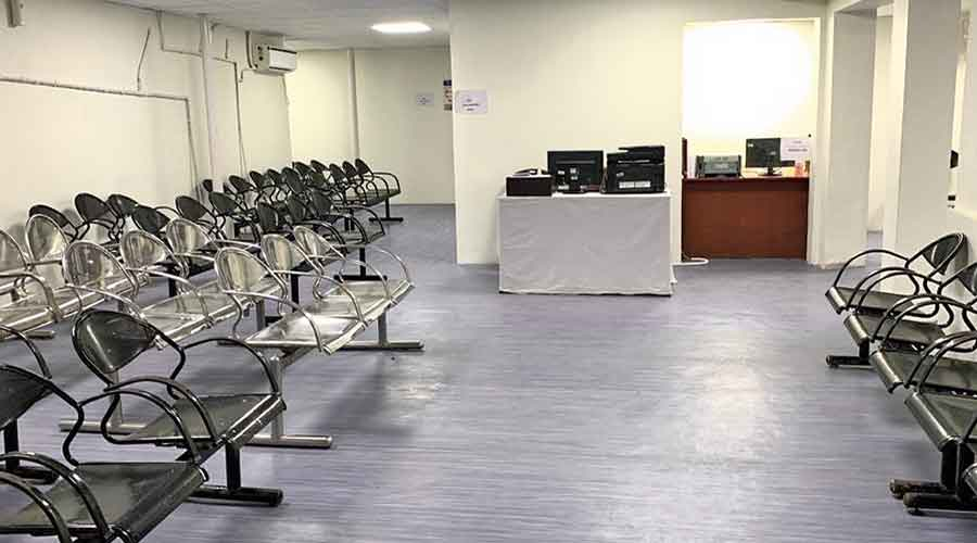 The pre-vaccination waiting area at the RN Tagore hospital