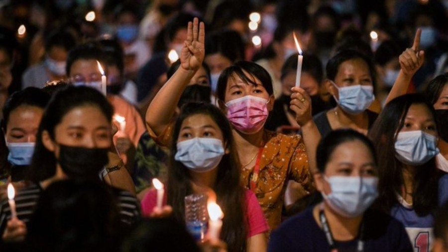 Protesters demonstrating against the military coup in Myanmar