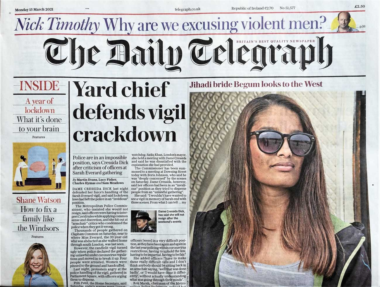 The front page of the March 15th edition of The Daily Telegraph, London, featuring a current picture of Shamima Begum