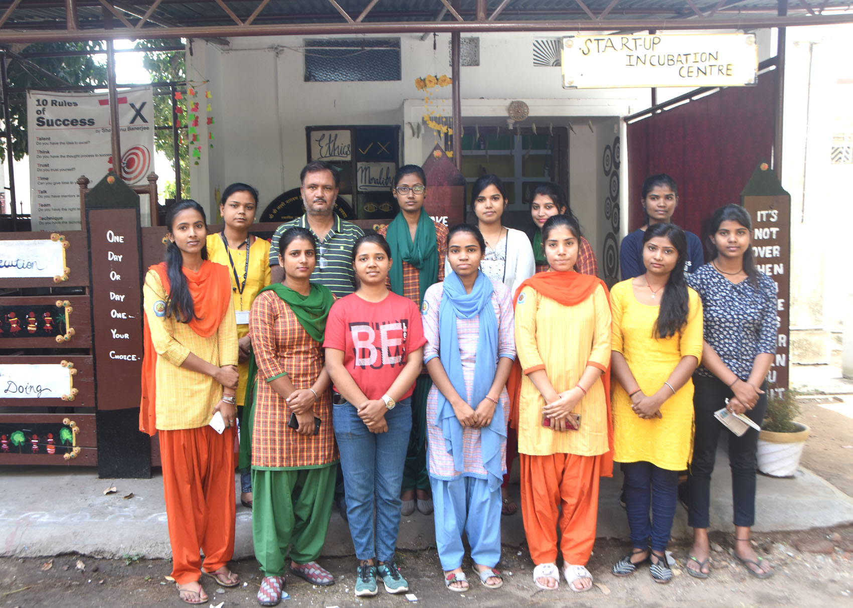 Shantanu Banerjee with his students at the Centre of Innovation, Incubation and Entrepreneurship Development