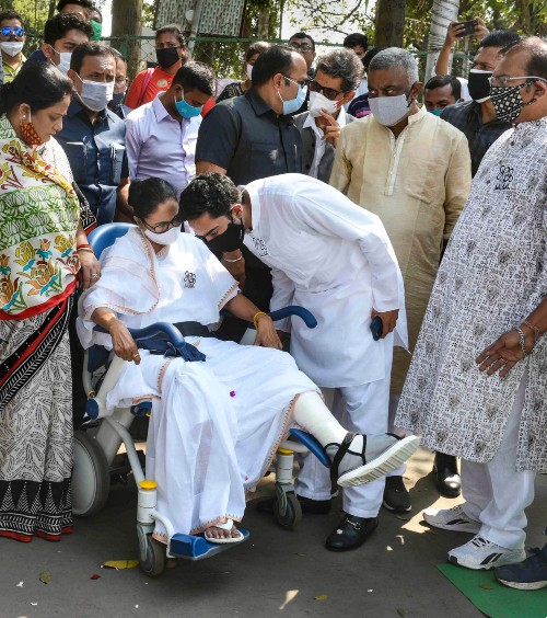 Mamata Banerjee with nephew Abhishek on Nandigram Diwas, four days after her accident