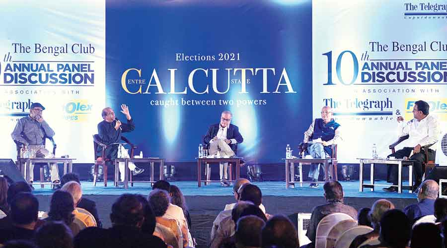 (From left) Bikash Ranjan Bhattacharyya, Dinesh Trivedi, moderator Kunal Sarkar, Abhishek Manu Singhvi and Santanu Sen at the discussion at The Bengal Club.