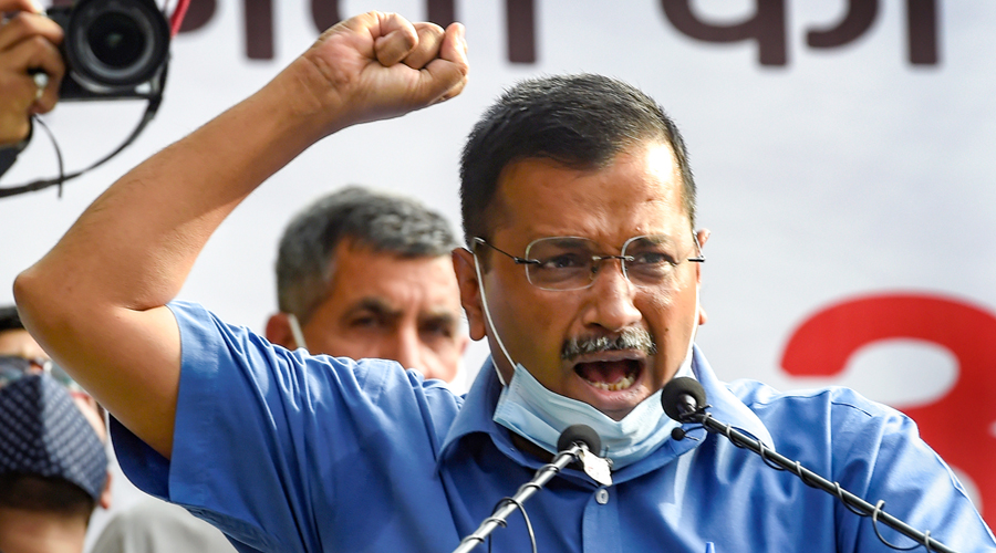 Delhi Chief Minister Arvind Kejriwal addresses during a protest against the Centres bill that gives overarching power to the Lieutenant Governor, at Jantar Mantar in New Delhi on Wednesday.