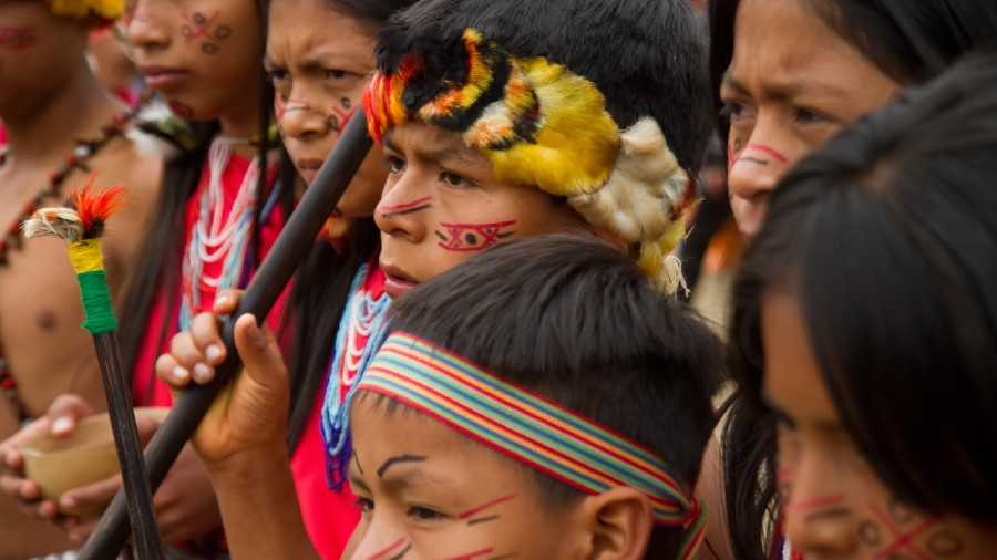 An indigenous population in Amazonian Ecuador, the traditional Shuar live primarily by foraging, hunting, fishing and subsistence farming