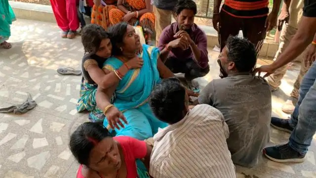 Grief-stricken mother of two children at Hazaribagh medical college and hospital.