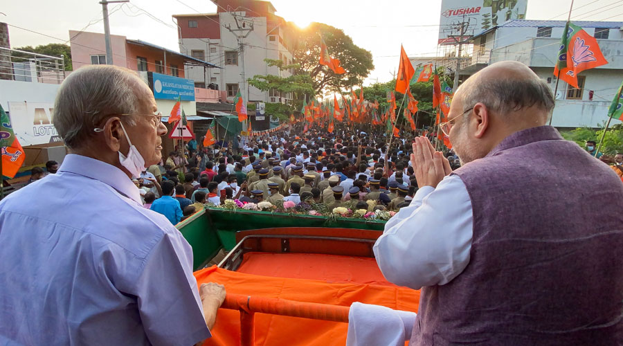 Union Home Minister Amit Shah during a public meeting, in Malampuzha, Wednesday, March 24, 2021.