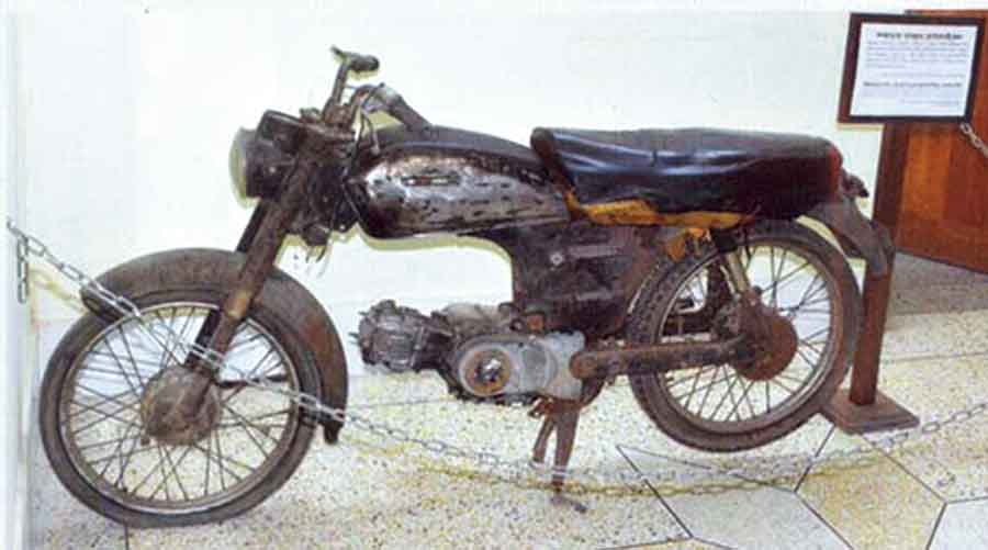 A motorbike used by a cohort to round up and kill people in Khulna