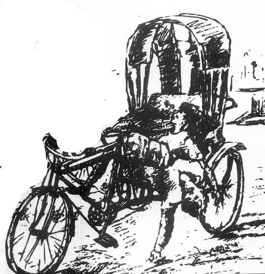 One of the exhibits at the museum is a sketch of a  cycle-rickshaw puller gunned down for no reason