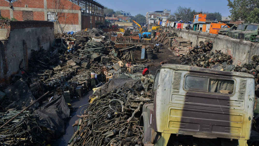 Junkyard located in West Delhi, India, said to be Asia's largest vehicle scrap yard.