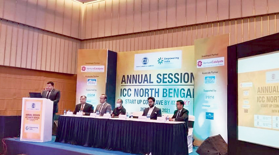 Dignitaries on the dais of the business conclave in Siliguri  on Friday.