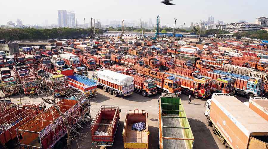 Trucks parked in Navi Mumbai  on Friday