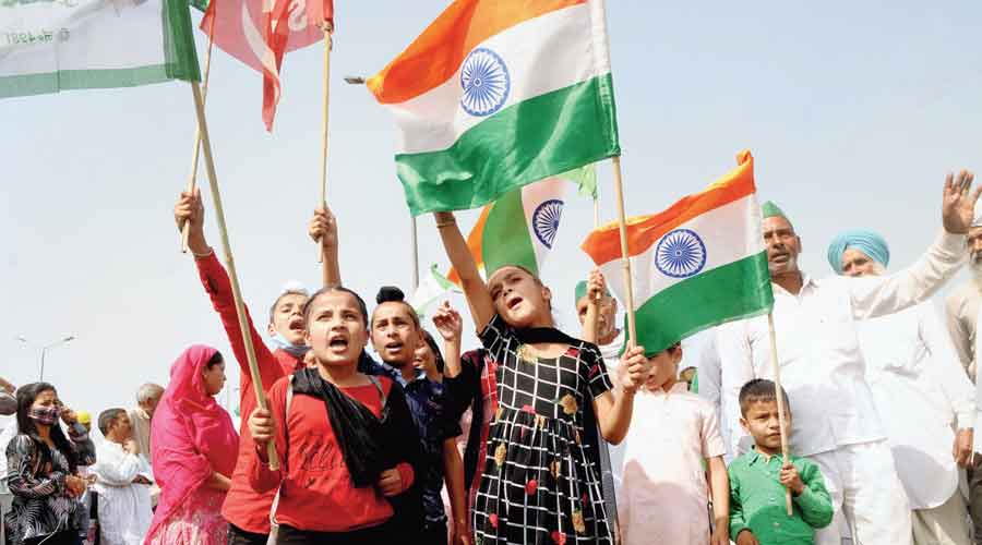 Children participate in the bandh  on Friday