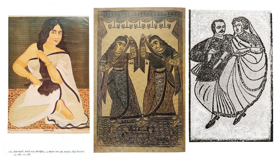 LOVE BARDS: (From far left) Courtesan Promoda Sundari; a woodcut of dancers by Nrityalal Datta; an illustrated Lajjatneccha