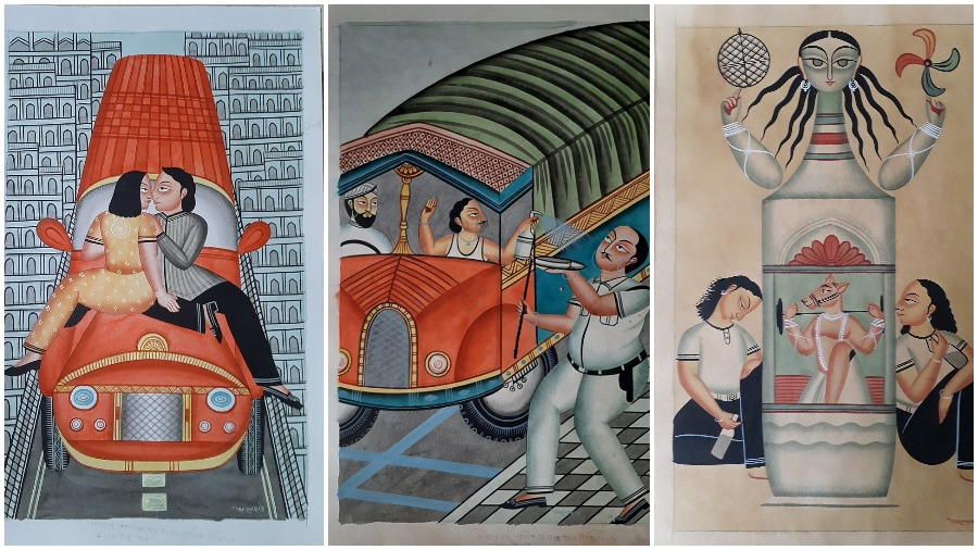 (L-R) Love in the time of social distancing ; When a cop tries to stop them, a truck driver and his helper spray sanitiser onto him,; This painting is meant to be a comment on a society that worships the goddess but abuses and exploits womenr and his helper spray sanitiser onto him