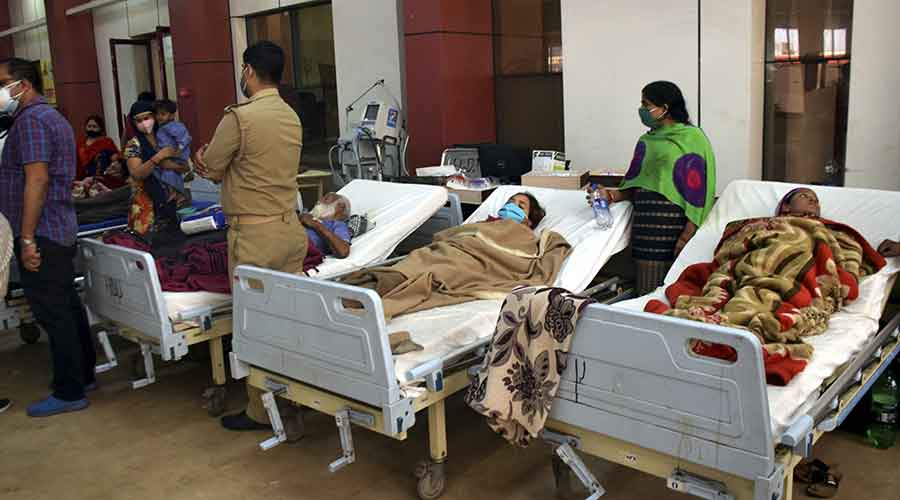 Patients shifted in a hall after a fire broke out in the LPS Institute of Cardiology, in Kanpur on Sunday, March 28, 2021.