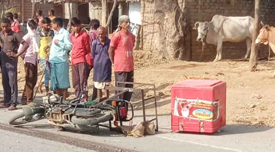 Sanjay Sahu's bike after the accident in Chatra on Sunday