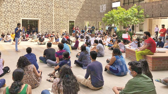 Students stage a sit-in on the Ashoka University campus.