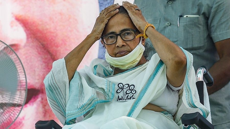 TMC supremo and Nandigram candidate Mamata Banerjee during her last rally at her constituency ahead of the Phase 2 polls on Tuesday.