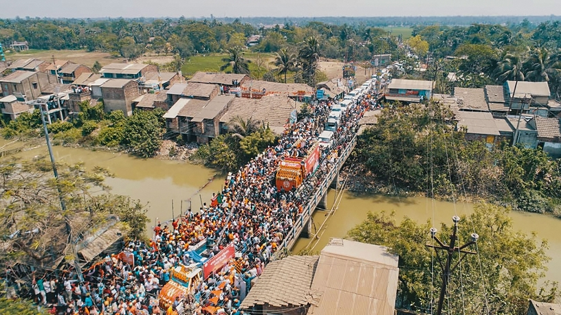 Sea of people spotted at Amit Shah's roadshow on Tuesday.