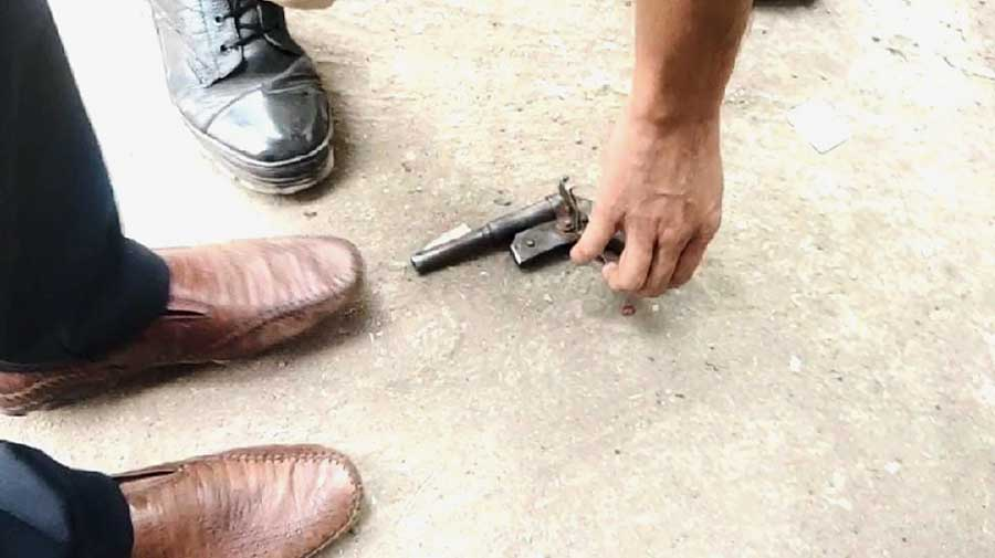 A gun on the site of the clash in front of the administrative building in Barrackpore on Wednesday.