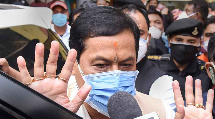 Assam Chief Minister Sarbananda Sonowal talks with media after BJP partys winning trend during counting day of Assam Assembly Elections, at the office