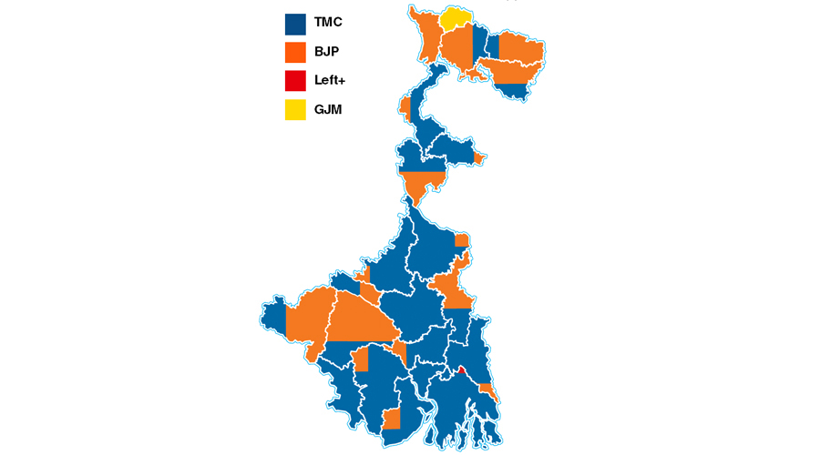 The colours of Bengal- Each district has been coloured in proportion to the number of seats each party or alliance had won or was leading in at 6pm on Sunday