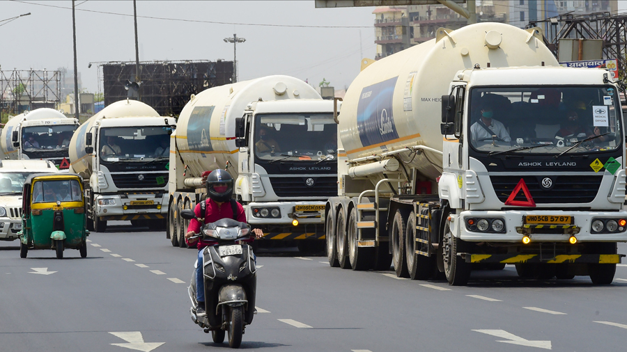 Tankers with medical oxygen gas for COVID-19 patients, amid a shortage of gas in many parts of the country due to surge in coronavirus cases, in Ghaziabad, Monday, May 3, 2021.