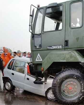The two vehicles after the accident in Hazaribagh on Monday.