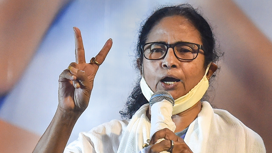 TMC supremo and West Bengal Chief Minister Mamata Banerjee during interaction with media after trends show her partys win in the State Assembly Election 2021, in Kolkata, Sunday, May 2, 2021.
