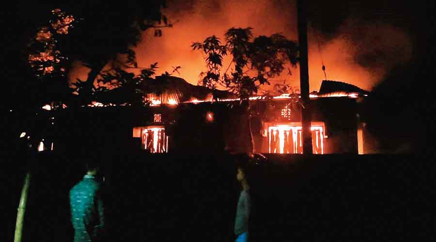 The home of a BJP supporter in flames, at Jharbari in Chopra of North Dinajpur, on Sunday night