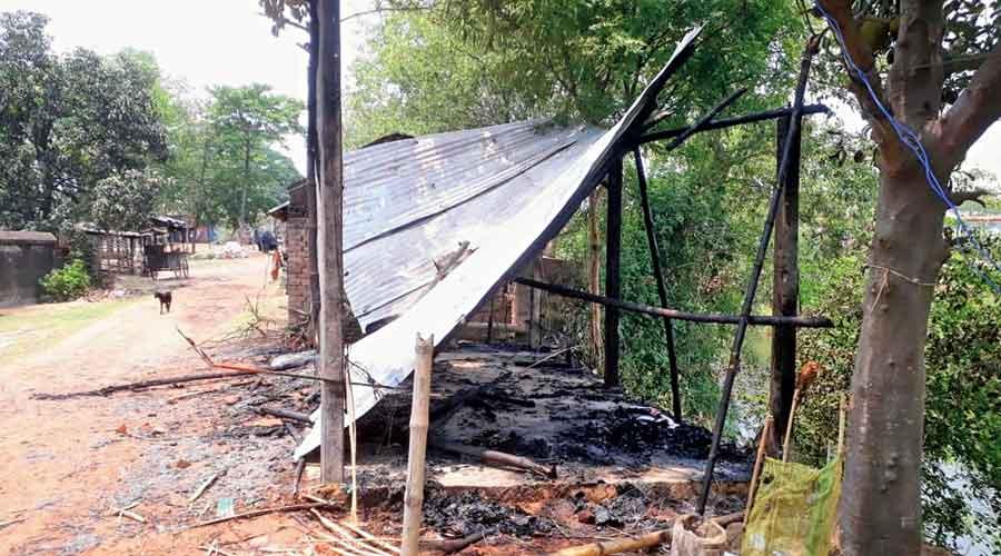 A vandalised BJP office at Galsi in East Burdwan