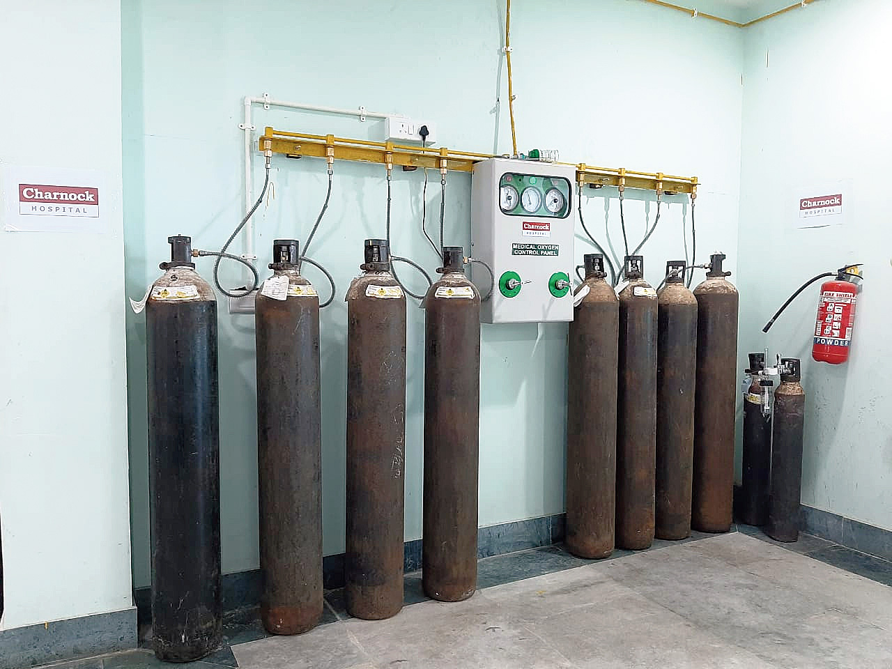 Oxygen cylinders at the facility