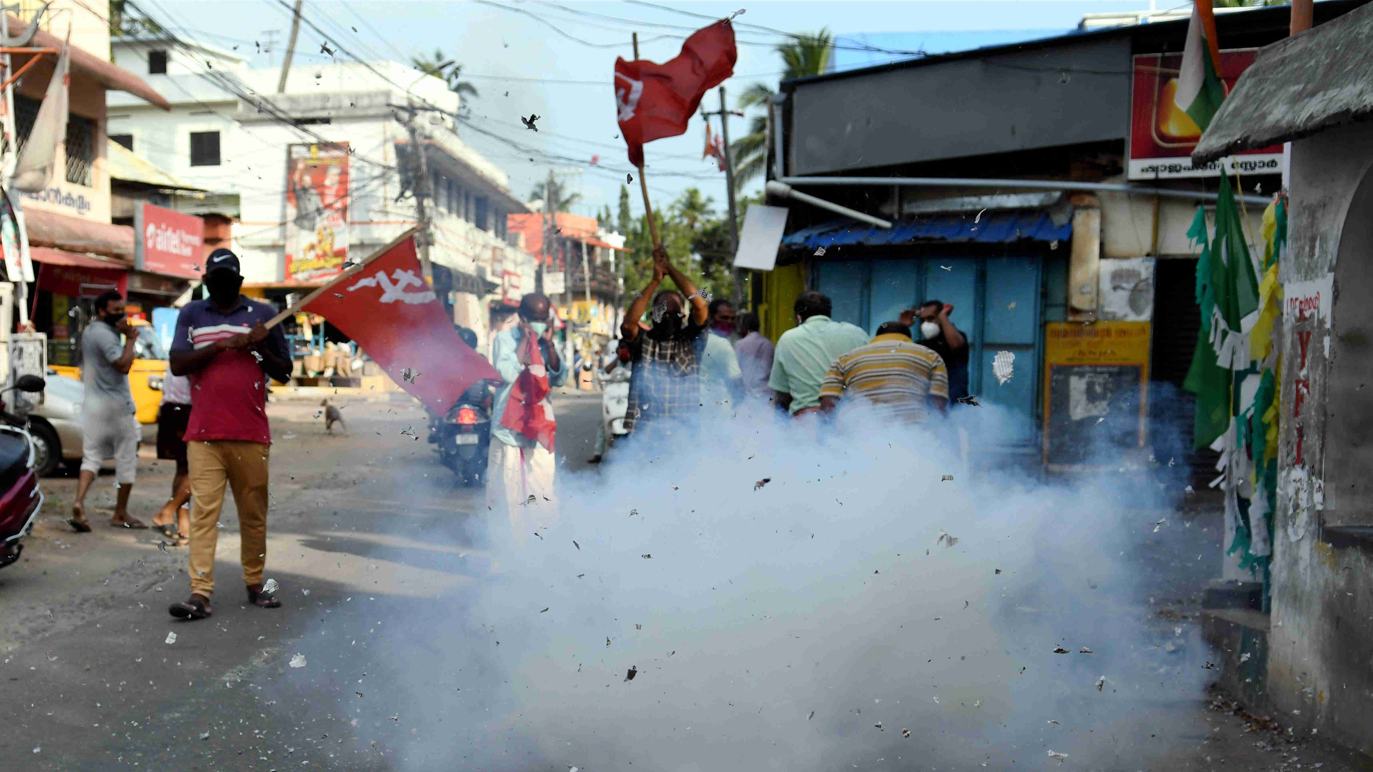 Left Democratic Front (LDF) activists celebrate partys winning trend during counting day of Kerala State Assembly Polls, in Thiruvananthapuram , Sunday, May 2, 2021.