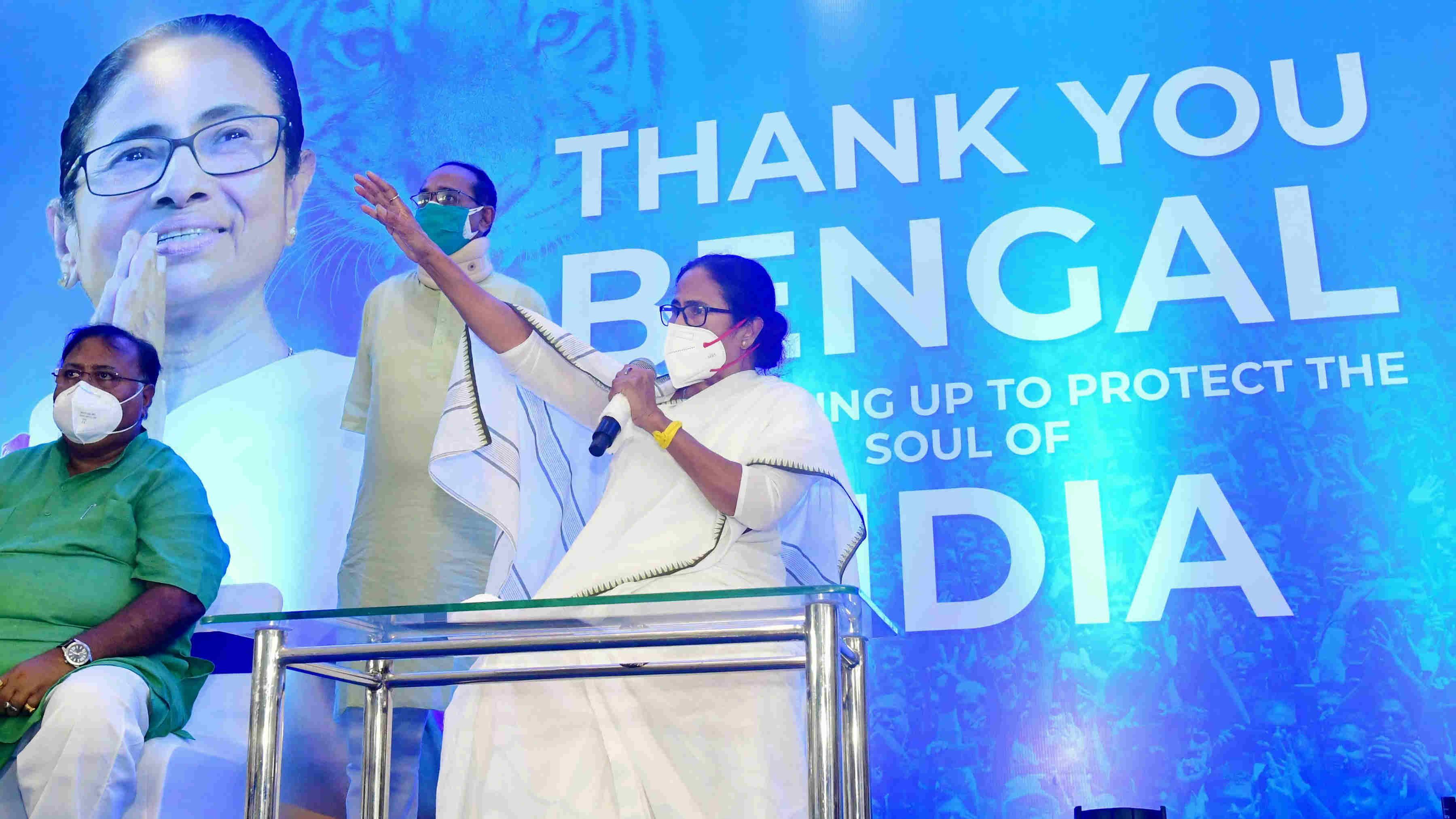 Trinamool Congress (TMC) supremo Mamata Banerjee addresses party MLAs in Kolkata, Monday, May 3, 2021.