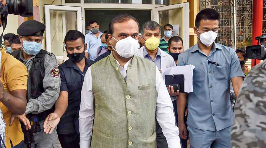Assam health minister Himanta Biswa Sarma visits the Guwahati Medical College Hospital in Guwahati on Tuesday to take stock of the arrangements for Covid-19 patients