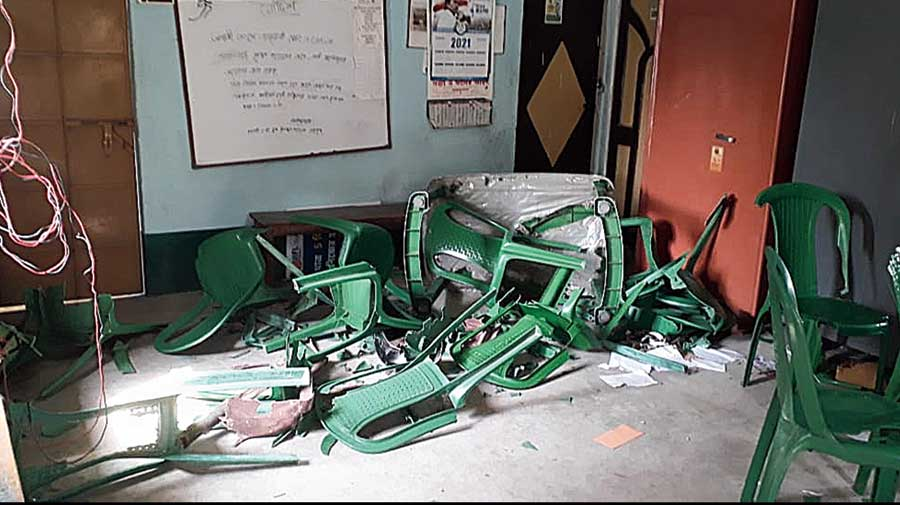 A vandalised office of Trinamul in East Burdwan's Galsi on Tuesday.