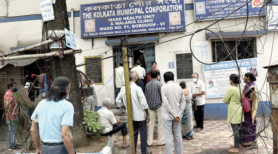 A queue for the Covid shot at a civic clinic at Raja Subodh Mullick Square on Tuesday.