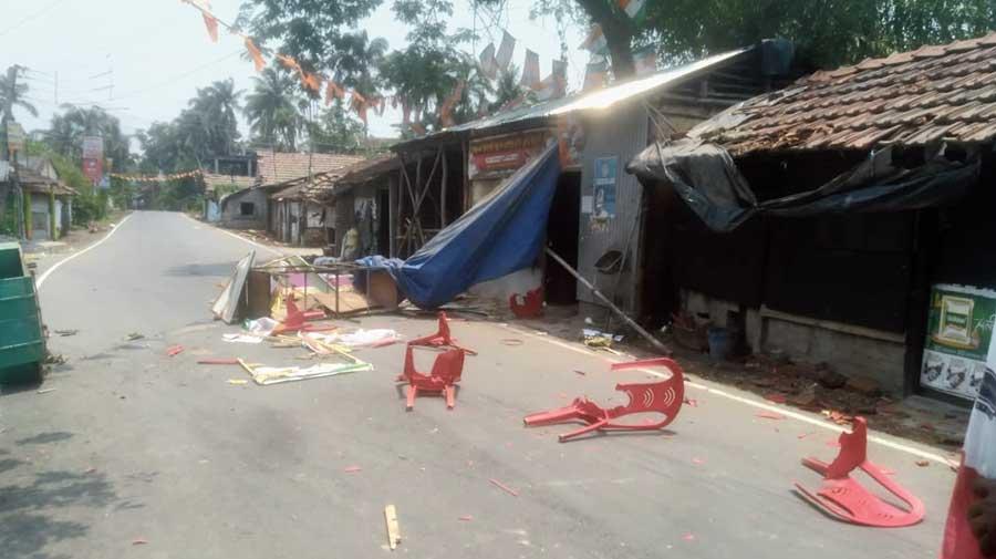 Vandalised shops of BJP workers in Nandigram