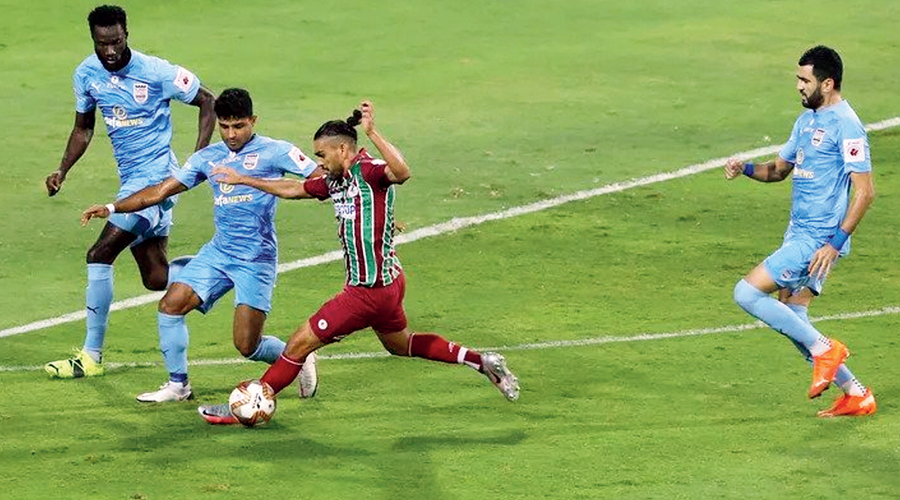 Action during the ISL VII final match between Mumbai City FC and ATK Mohun Bagan on March 13.
