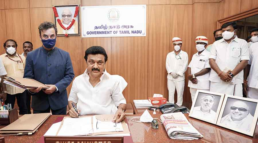 MK Stalin  at his office  in Chennai on Friday.