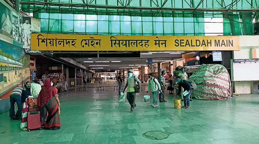 A deserted Sealdah station on Friday.