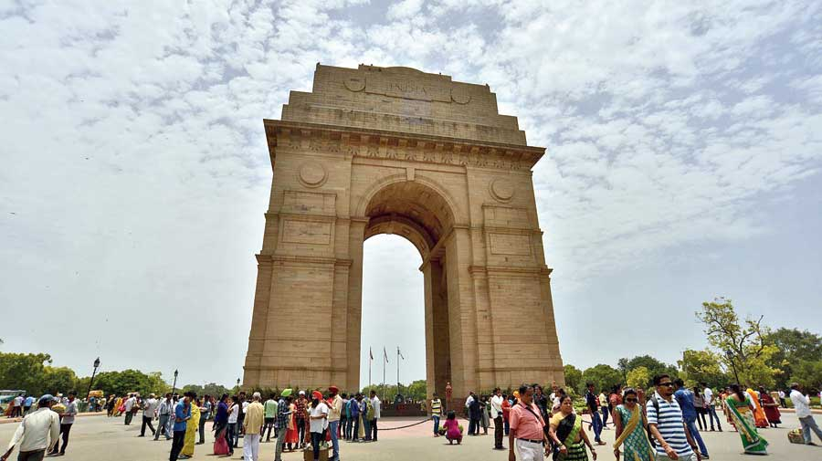 Clouds over the India Gate in New Delhi on Wednesday.