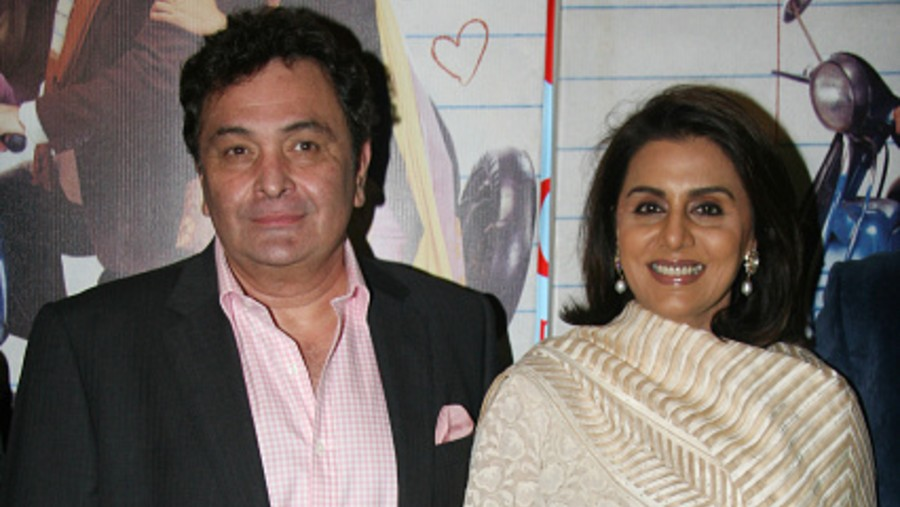 Rishi Kapoor and Neetu Singh during the premiere of film 'Do Dooni Chaar' on October 06, 2010 in Mumbai