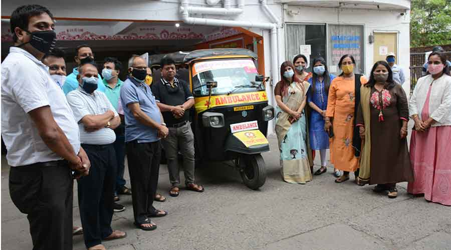 The launch of the auto ambulance service in Jamshedpur on Sunday.