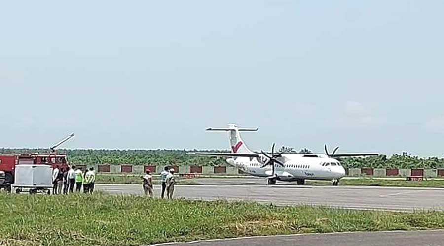 A flight at the Rupsi airport on Saturday.