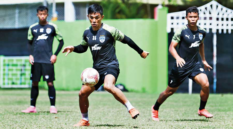 Bengaluru FC captain Sunil Chhetri during training with teammates in Male on Saturday.