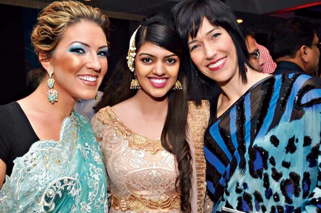 Mariam Zaki (centre) with her guests