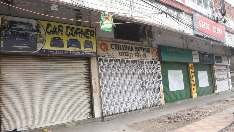 Shops dealing in motor parts remain closed at Bank More-Matkuria road in Dhanbad on Tuesday.