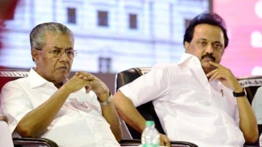 Kerala chief minister Pinarayi Vijayan and DMK working president MK Stalin at a conference on 'State Autonomy', in Chennai.