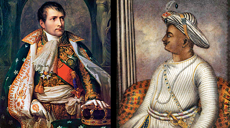 (LEFT): A portrait of Napoleon Bonaparte by Andrea Appiani; (RIGHT): Portrait of Tipu Sultan once owned by Richard Colley Wellsley, now in the care of the British Library